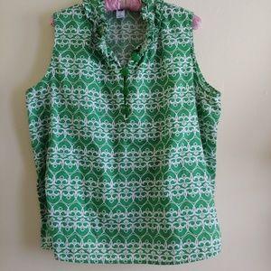 GAP Sleeveless Blouse, Size XL, Green and White